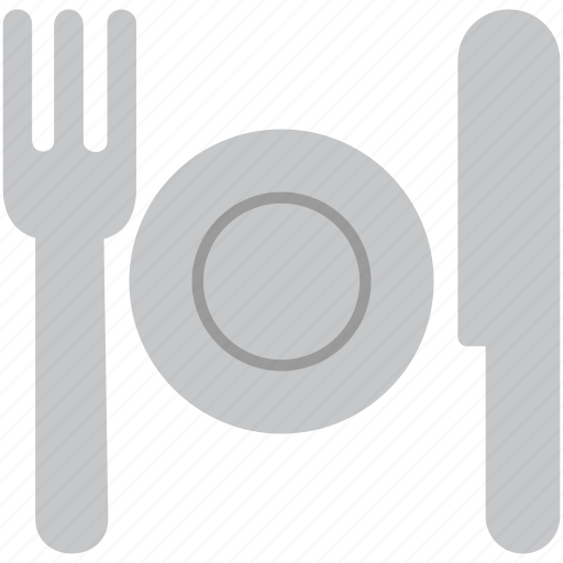 cutlery, fork, kitchen, knife, lunch, plate, restaurant icon