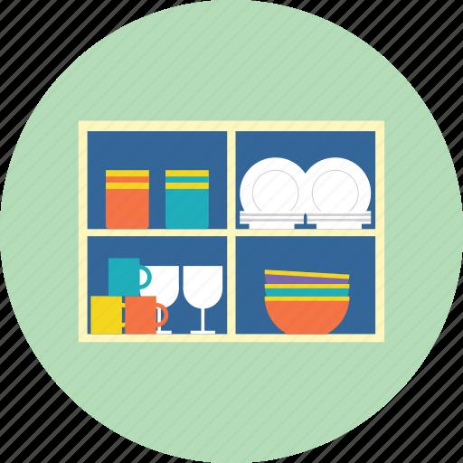 bowl, cup, dishes, glasses, mug, plates, shelf icon
