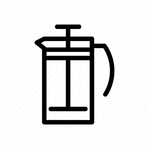brewing, coffee, coffee maker, french, french press, press icon