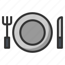 dish, fork, knife, plate, utensil icon