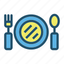 eat, food, fork, kitchen, plate, restaurant, spoon icon