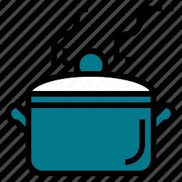 big, boil, hot, kitchen, kitchenware, pot icon