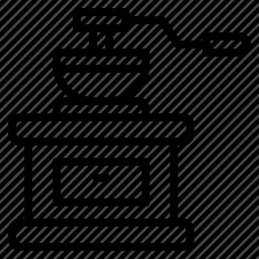 coffee, grinder, hand, kitchenware icon