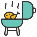 chicken, cook, grill, roast, technique icon