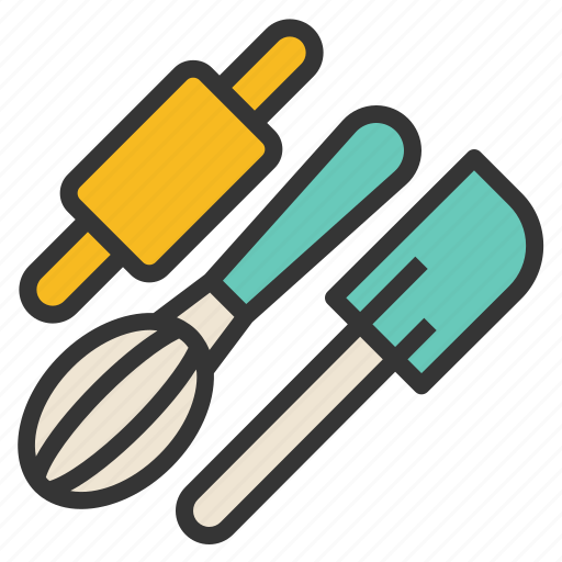 bakery, pastry, rolling, spatula, tools, whisk icon