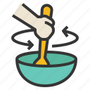 bowl, food, mix, spatula, stir