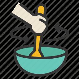 bowl, food, mix, spatula, stir icon