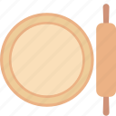bread roller, dough roller, kitchen tool, roller pin, rolling pin icon