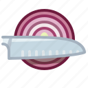 cooking, cutting, knife, onion, santoku, vegetable, yumminky icon