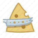cheese, cheese knife, cooking, cutting, food, knife, yumminky icon