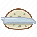 bread, bread knife, cooking, cutting, food, knife, yumminky icon