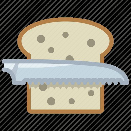 bread, bread knife, cooking, cutting, food, knife, yumminky icon