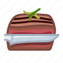 cooking, cutting, knife, meat, steak, steak knife, yumminky icon