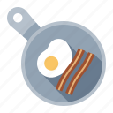 bacon, breakfast, eggs, food, frying pan, kitchen, meal icon