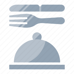 food, fork, knife, meal, room service icon