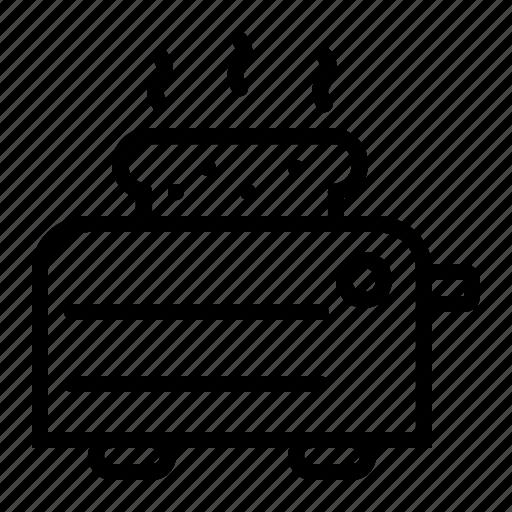 kitchen, oven, slice, toast, toaster icon