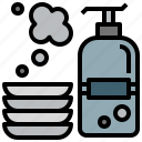 cleaning, liquid, plates, soap, washing icon