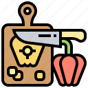 board, chopped, knife, preparation, vegetable icon