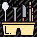 basket, cutlery, fork, knife, spoon
