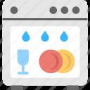 dishware cleaning device, dishwasher, electric dishwasher, home appliance, home automation, mechanical dishwashing icon