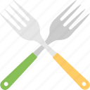 crossed forks, cutlery, dining, forks, silverware icon