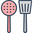 cooking spoons, cutlery, kitchen, skimmer spoon, spatula icon