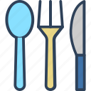 cutlery, eating utensil, fork, knife, spoon icon