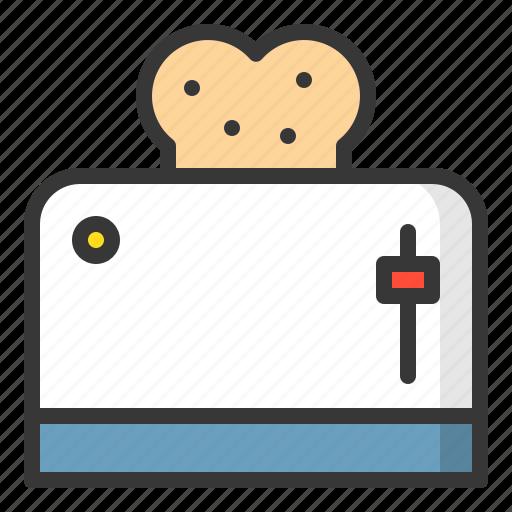 bread, kitchen, kitchenware, toaster, utensill icon