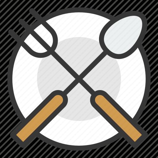 fork, kitchen, kitchenware, plate, spoon, utensill icon