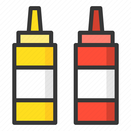 bottle, ketchup bottle, kitchen, kitchenware, sauce bottle, utensill icon
