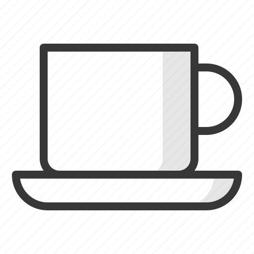 coffee cup, cup, kitchen, kitchenware, saucer, utensill icon