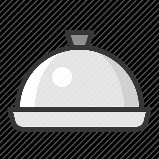 cloche, dome, kitchen, kitchenware, stainless steel dome, utensill icon