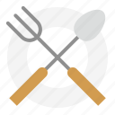 fork, kitchen, kitchenware, plate, spoon, utensill icon