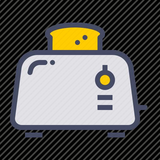 appliance, bread, breakfast, kitchen, toast, toaster icon