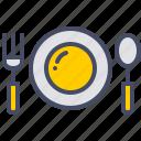 dinner, eat, food, fork, plate, restaurant, spoon