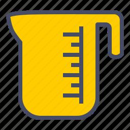 cup, jar, jug, kitchen, measure, measureing, water icon