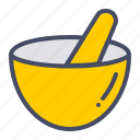 bowl, grind, hand, kitchen, mix, mortar, pestle icon