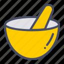 mortar, bowl, grind, mix, pestle, hand, kitchen