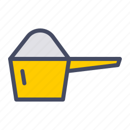 cup, kitchen, measure, measuring, powder, protein, scoop icon