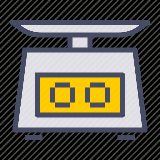 digital, food, grams, measure, scale, weigh, weighing icon