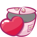 cooker, heart, lover icon