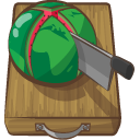 chopped, melon, water icon