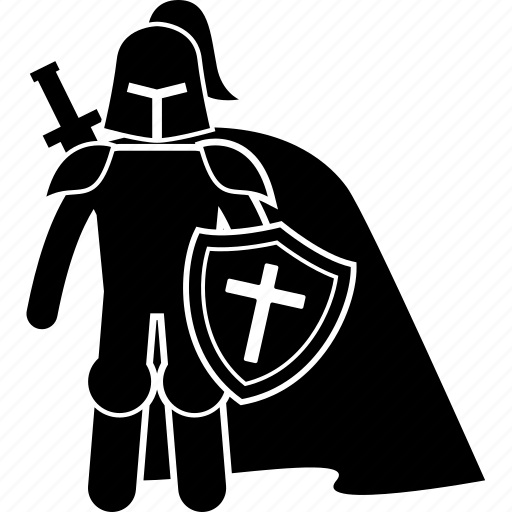 cape, crusader, knight, paladin, templar icon
