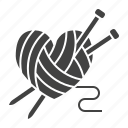 hand, knitting, made, needles icon