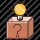 box, education, idea, knowledge, outside, school, think