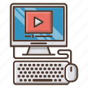 computer, education, knowledge, online, school, tutorial, video icon