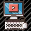 school, knowledge, computer, video, online, education, tutorial icon