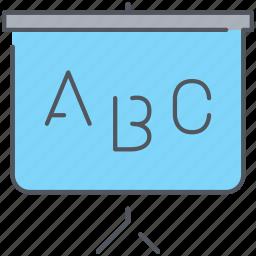 alphabet, blackboard, children, knowledge, learning, school, study icon