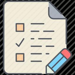 document, exam, examination, file, paper, to-do, write icon