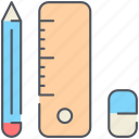 education, elements, pencil, rubber, ruler, school, student icon